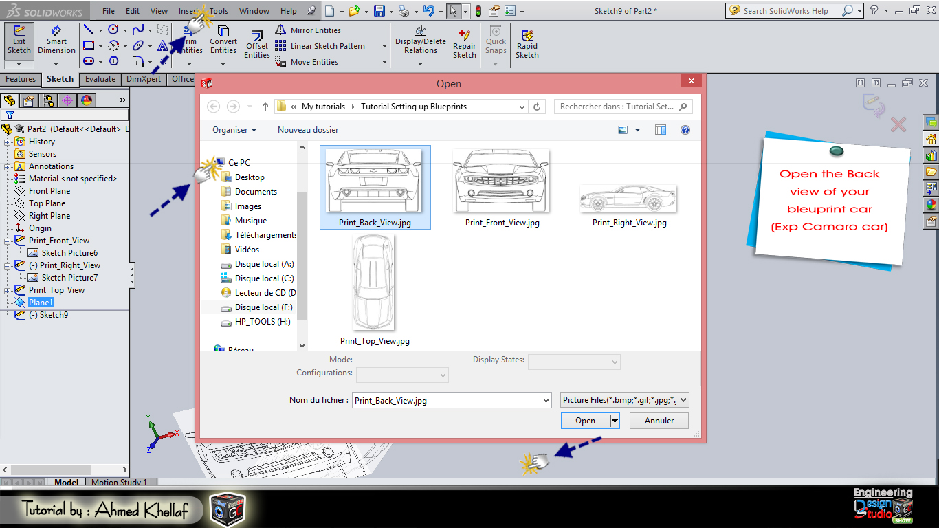 How to setting up blueprints in solidworks grabcad tutorials open the top view of your blueprint car exp camaro car malvernweather Image collections
