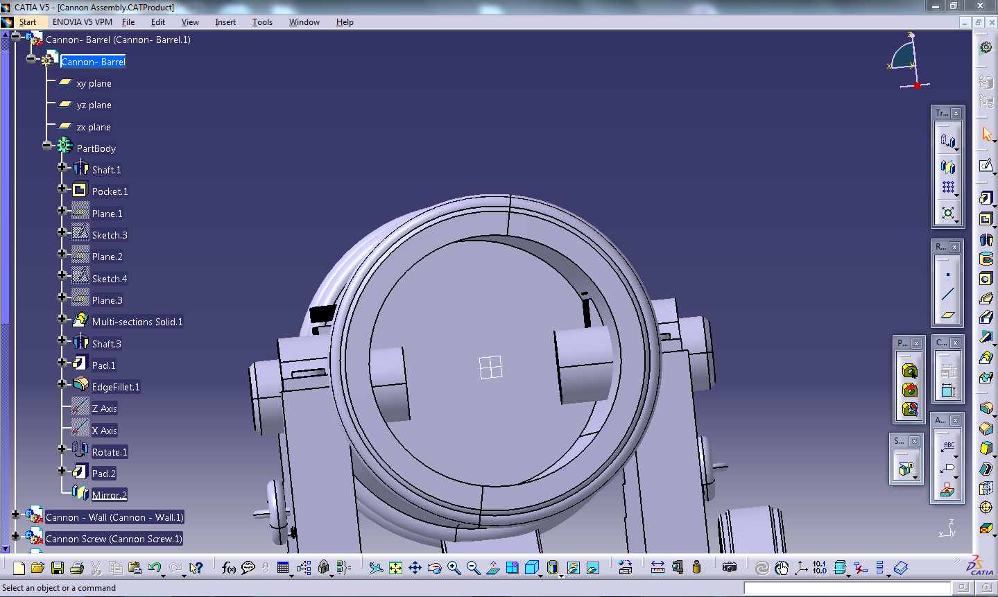 How do i trim 2 intersecting 3D objects in Catia V5 I have