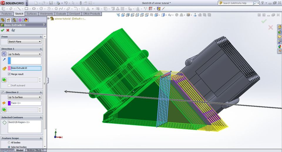Stuck on zero thickness geometry : SolidWorks