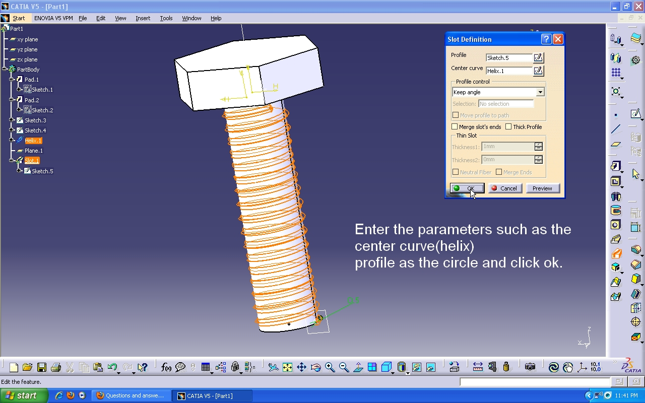 Tutorial: How to model a bolt with visible threads in Catia