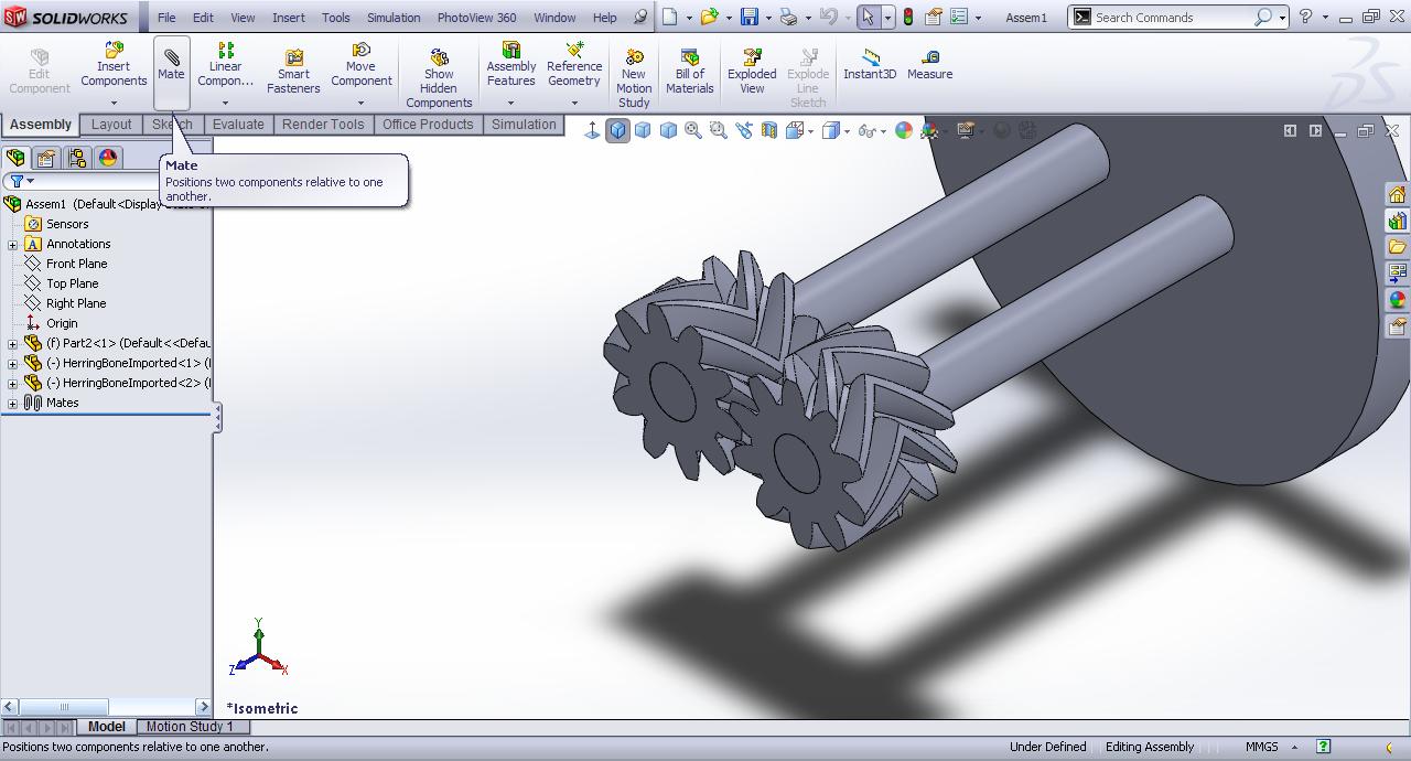 Tutorial - Mating HerringBone gear in SolidWorks? | GrabCAD