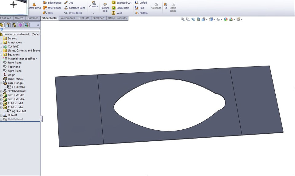 How To Flatten This Part Into Sheet Metal In Solidworks