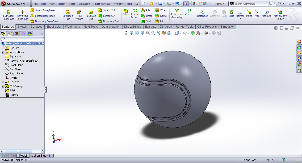 Tutorial Modeling Tennis Ball In Solidworks Grabcad