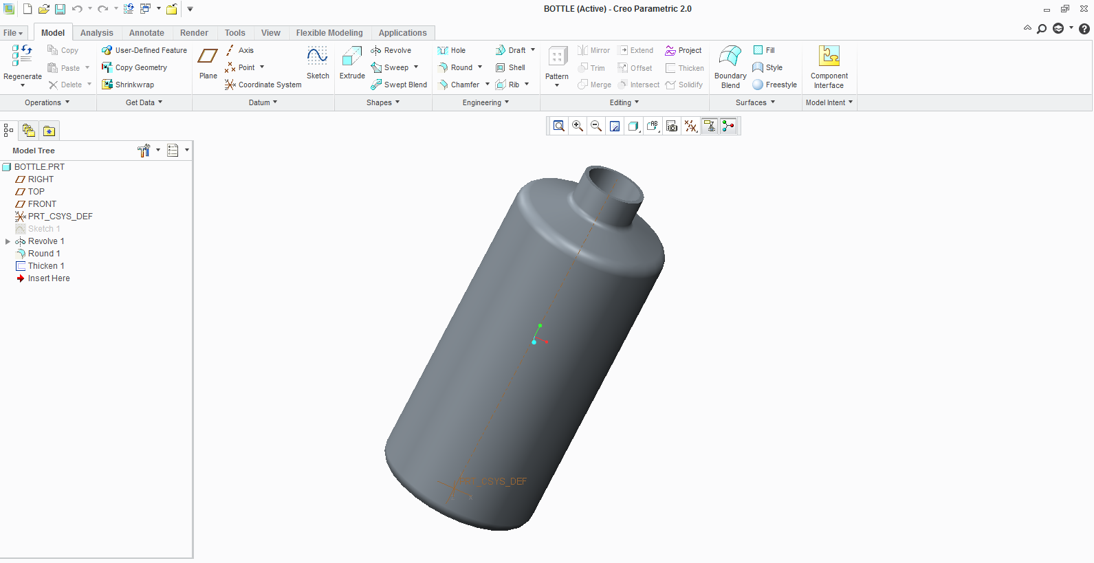 Is simulation of water bottle possible in Creo 2 0