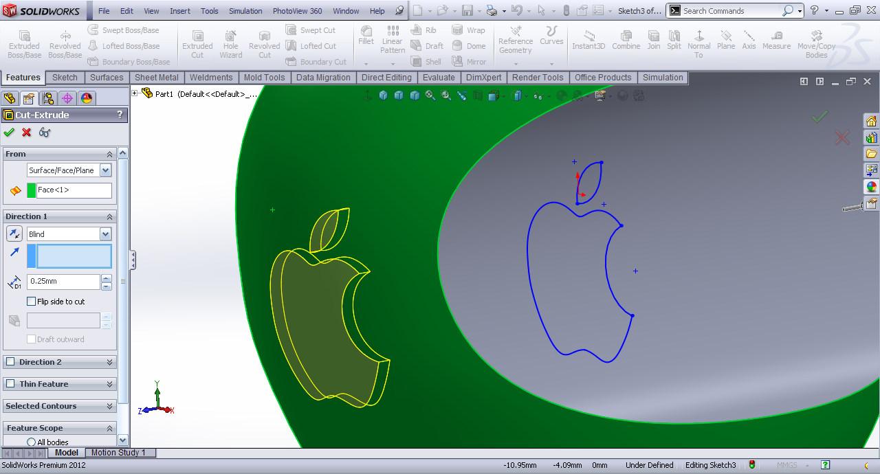 Tutorial modeling apple 3d logo in solidworks grabcad tutorials select the apple surface as the surface and blind cut gumiabroncs Gallery