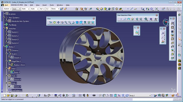 Tutorial - how to make a simple rim in catia v5 | GrabCAD