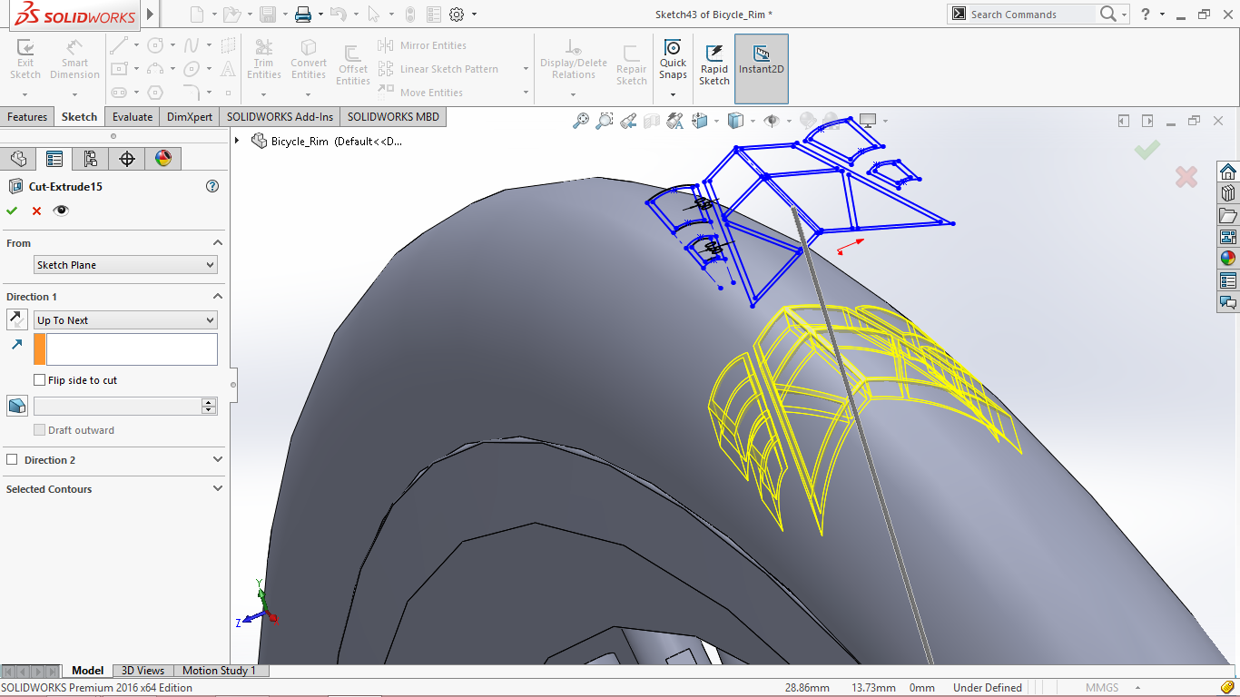 how to extrude cut a 3d sketch solid works