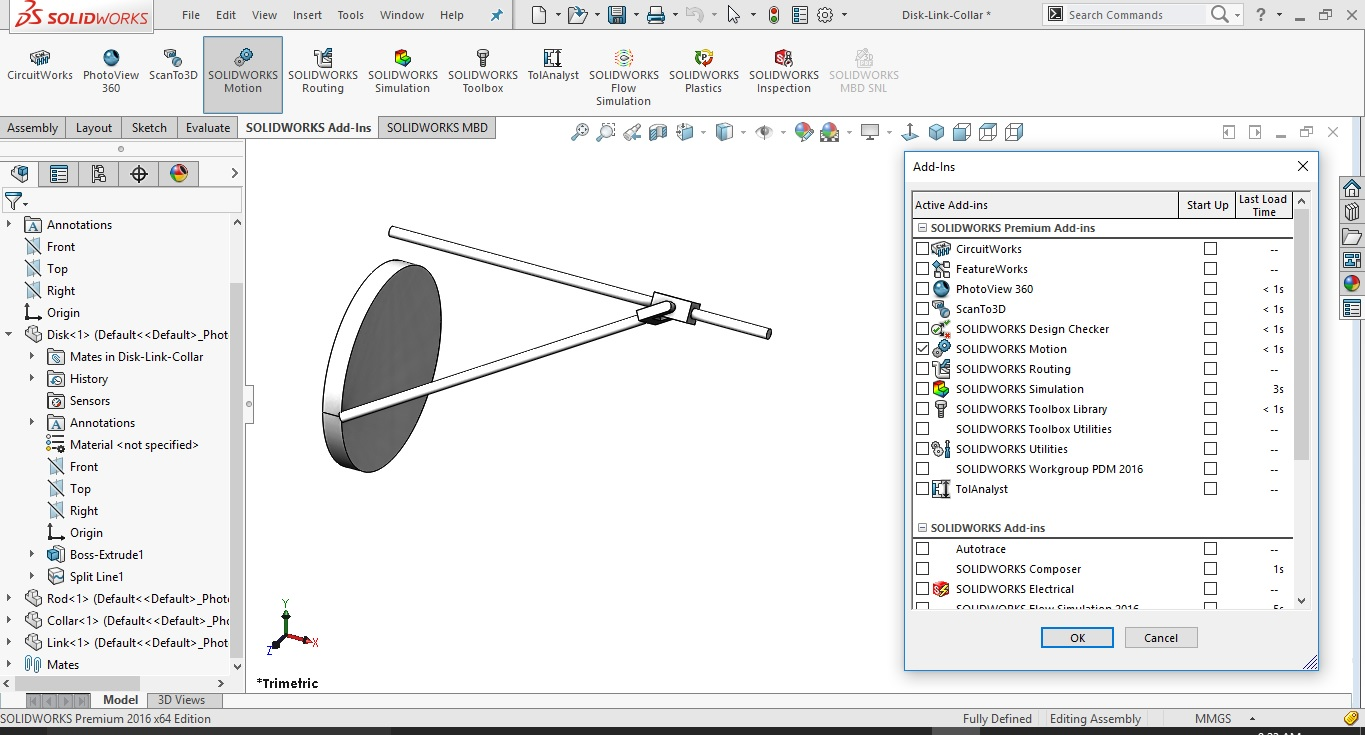 My Solidworks motion manager is not opening after clicking the