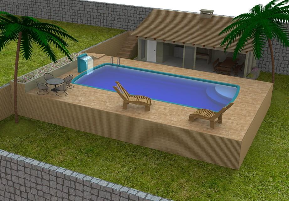 Quiosque com piscina step iges solidworks 3d cad for Piscina 3d