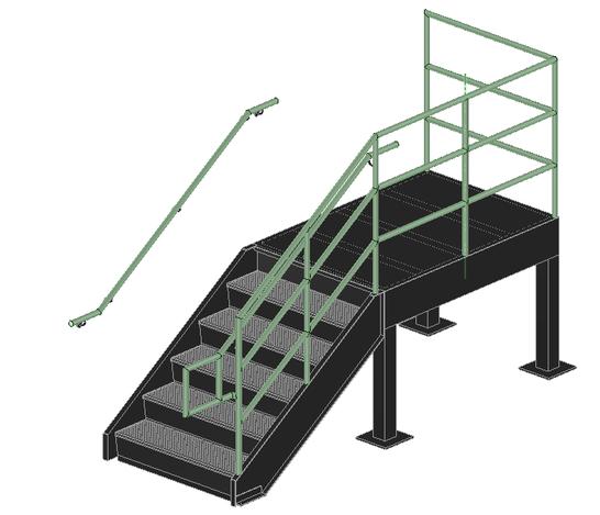 Exterior steel stairs stl spaceclaim 3d cad model for Exterior metal stairs