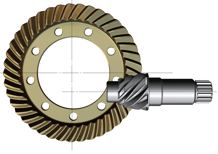 Bevel Gear Animation : Hypoid gear set for automotive drive axle d cad model