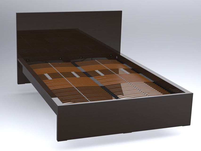 Ikea Malm Tweepersoonsbed Zwart.Ikea Malm Bed With Leirsund Slatted Bed Base 3d Cad Model