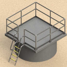 Concrete tank with concrete lid and modular handrail