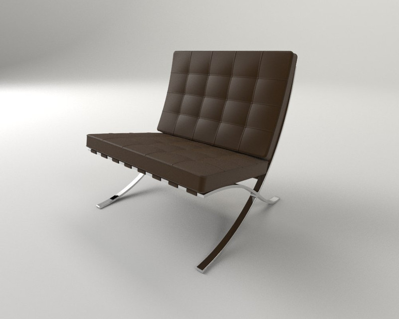 barcelona chair 3d cad model library grabcad
