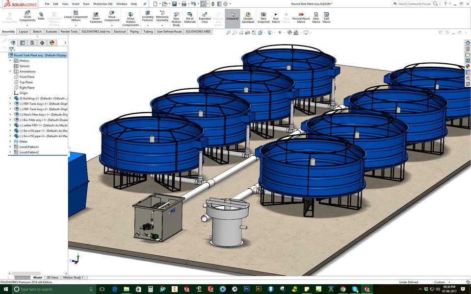 (RAS ) Re-Circulating Aquaculture System   3D CAD Model