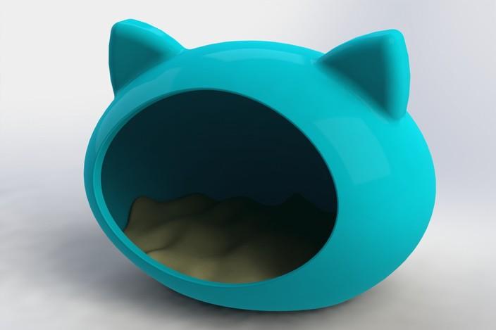 Cama para gatos step iges solidworks 3d cad model - Cama para gato ...