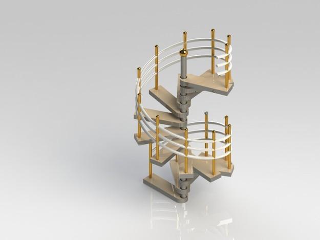 Spiral stair solidworks 3d cad model grabcad Spiral stair cad