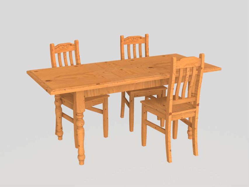 Chaise de salon ou cuisine en bois 3D CAD Model Library