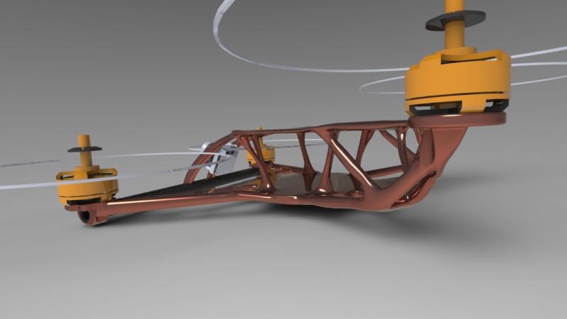 Quadcopter frame - generative design | 3D CAD Model Library