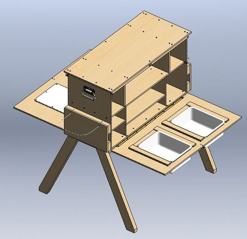 Patrol box stl solidworks 3d cad model grabcad for Wooden camp kitchen designs