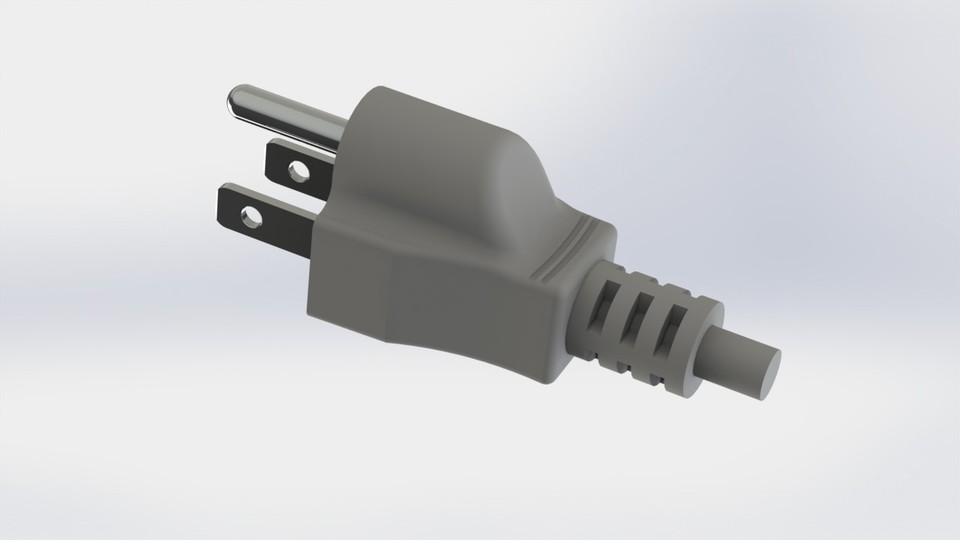 AC Power Cord (Electric wire plug end) - Three Prong grounded | 3D ...