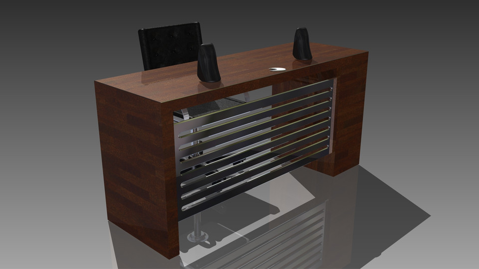 computer desk with speakers and sub 3d cad model library grabcad