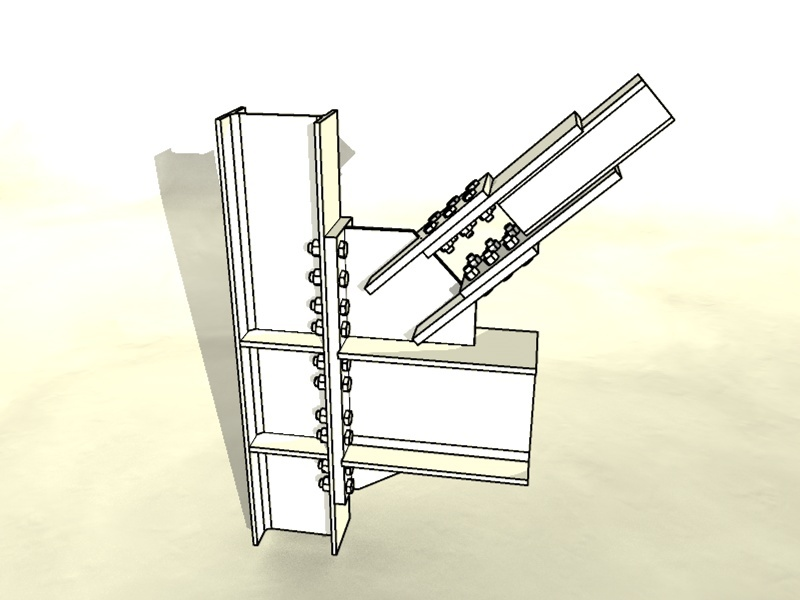 Bolted Steel Brace Frame Connection | 3D CAD Model Library | GrabCAD