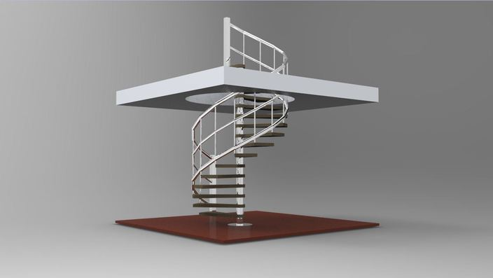 Spiral staircase autocad keycreator stl 3d cad model for Spiral stair dwg