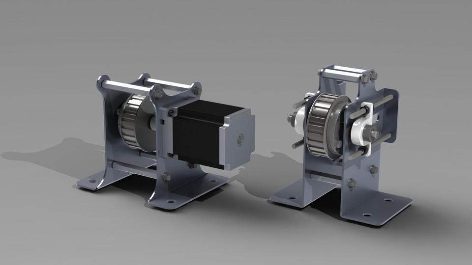 Stepper Motor Mount And Belt Tensioner 3d Cad Model