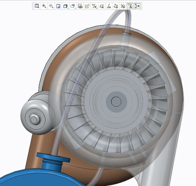 TURBO CHARGED JET ENGINE WITH ACTIVE MAGNETIC BEARING | 3D