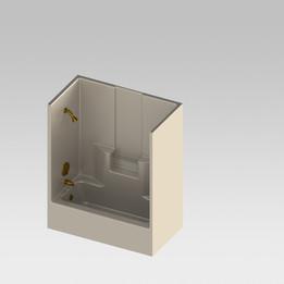 1 piece Shower/bathtub combo unit