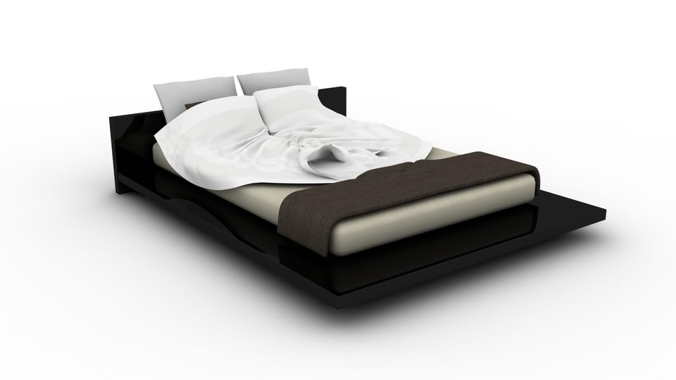 Modern bed 3d cad model library grabcad
