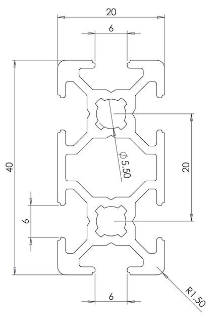 20X40 BR ALUMINIUM PROFILE | 3D CAD Model Library | GrabCAD