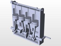 Simple Inline 4 Otto engine