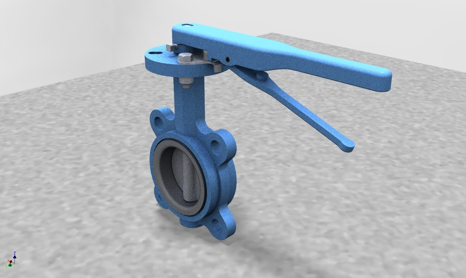 3-inch Butterfly Valve   3D CAD Model Library   GrabCAD