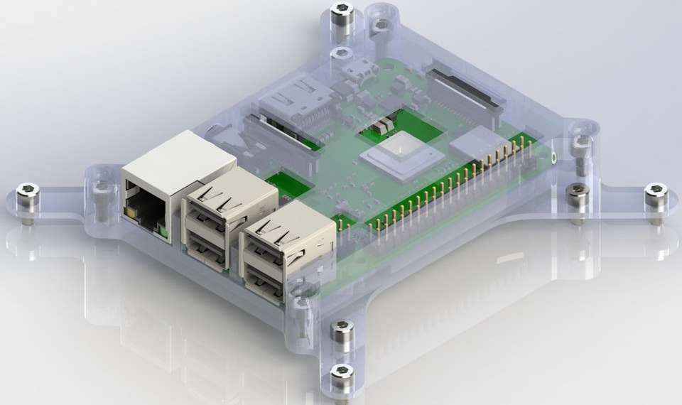 RASPBERRY PI 3 B+ VESA MOUNTED CASE | 3D CAD Model Library