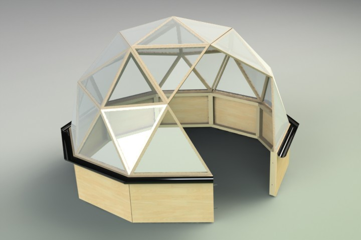 Geodesic dome greenhouse 3m dia 3d cad model grabcad for Geodesic dome template