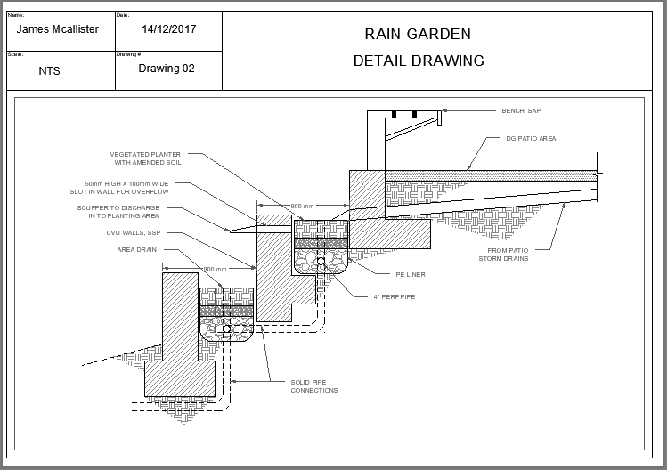 Rain Garden Detail Drawing | 3D CAD Model Liry | GrabCAD on rain gutter downspout design, rain roses, french drain design, rain illustration, dry well design, rain harvesting system design, rain art drawings, rain construction, rain barrels, rain water design, gasification design, bioswale design, rain gardens 101,
