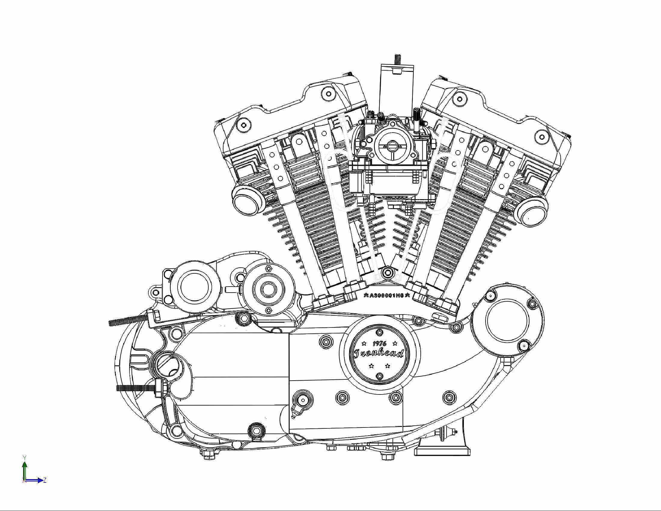 Harley Davidson Engine Drawing, Harley, Free Engine Image ...