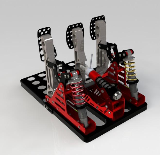 Pedal Set for sim racing | 3D CAD Model Library | GrabCAD