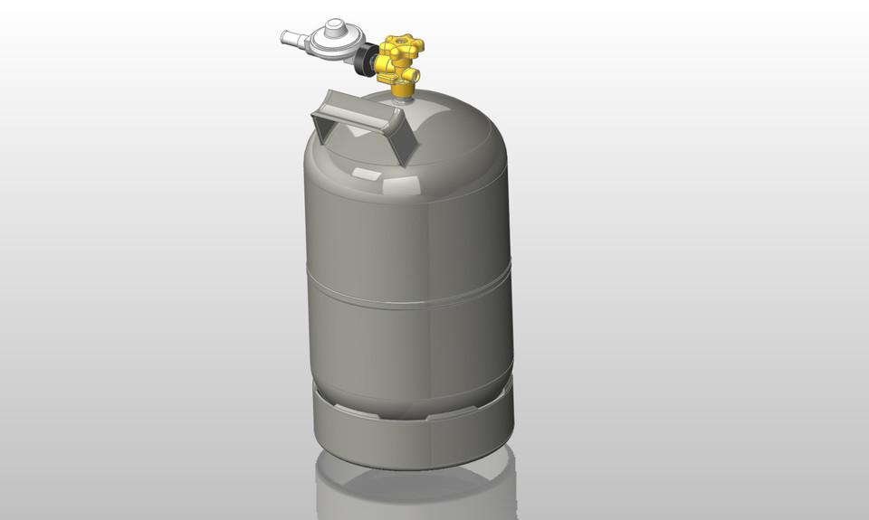 gasflasche 5kg grill camping gas bottle 3d cad model. Black Bedroom Furniture Sets. Home Design Ideas