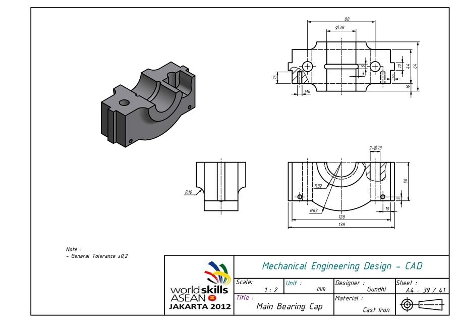 Main Bearing Cap   3D CAD Model Library   GrabCAD