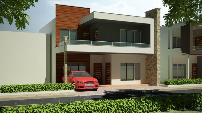 Front Elevation In 3ds Max : Exterior design autodesk ds max d cad model grabcad