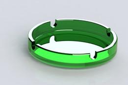 Green glass ashtray