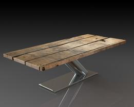 Corian Table - Minimalist - Single Support - Steel - Wood