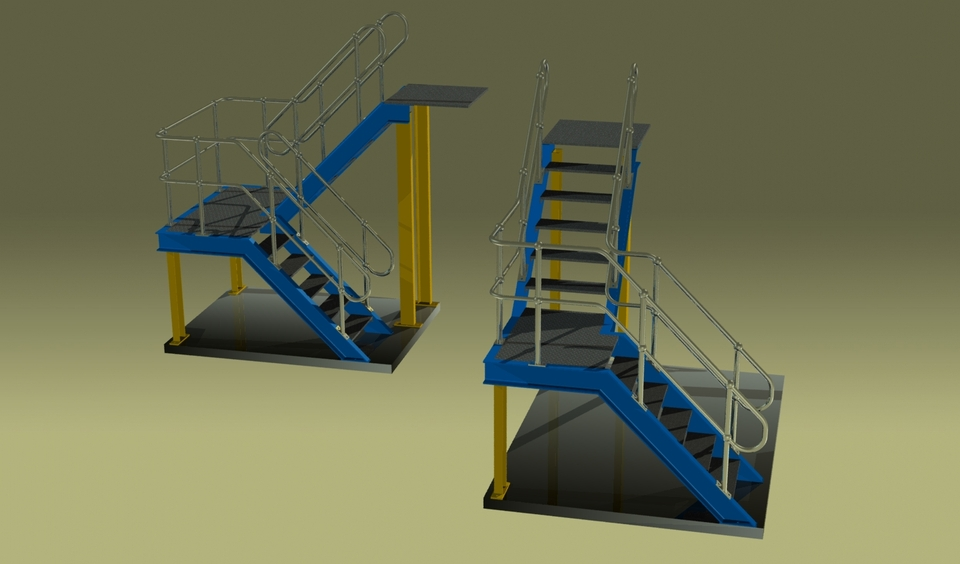Charmant Platform Stairs | 3D CAD Model Library | GrabCAD