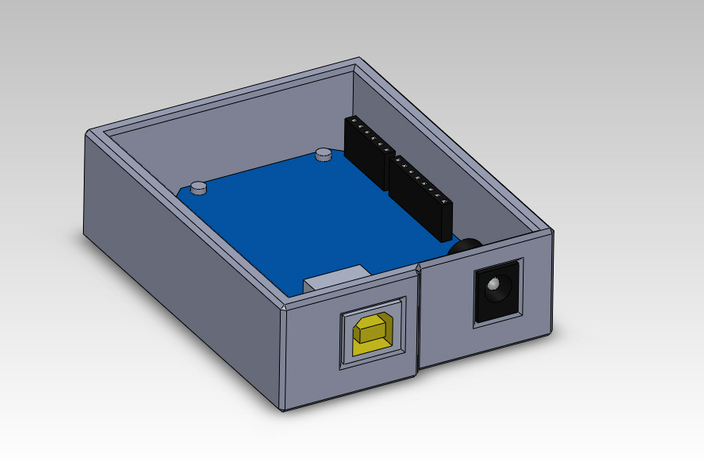 Arduino simple box enclosure solidworks d cad model