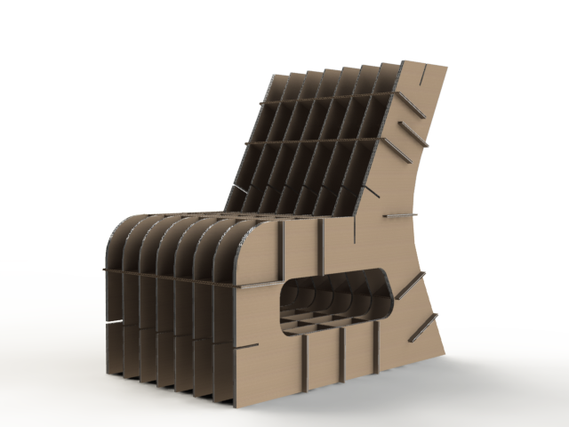 Corrugated Cardboard Chair corrugated cardboard - child's chair - solidworks,solidworks - 3d