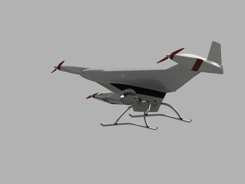 VTOL DRONE 3 MOTOR, WITH FREE ROTORS-SECOND COFIGURATION | 3D CAD