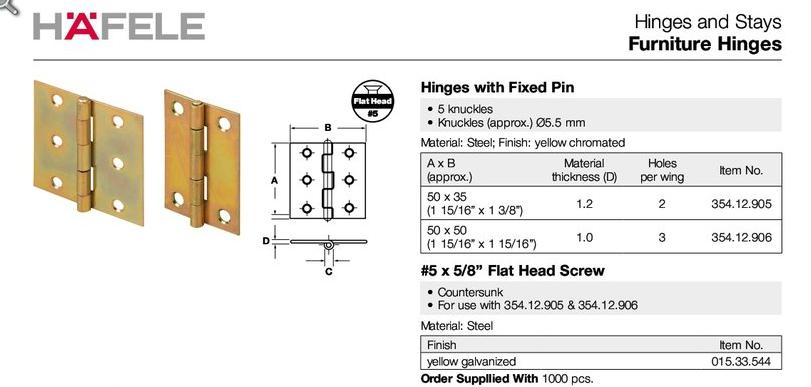 Hafele 354 12 906 Butt Hinge, steel, yellow chromate, 50x50mm